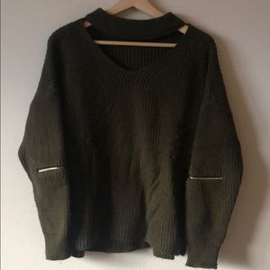 High Neck Cutout Sweater Olive Green Sz S